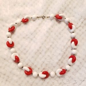 Jewelry - Vintage Red and White PacMan Bead Necklace